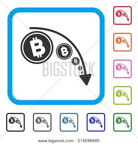 Bitcoin Reduce Trend icon. Flat gray iconic symbol in a blue rounded squared frame. Black, gray, green, blue, red, orange color versions of Bitcoin Reduce Trend vector.