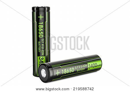 18650 Rechargeable Li-ion Batteries 3D rendering isolated on white background