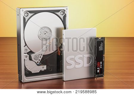 Solid state drive SSD Hard Disk Drive HDD and M2 SSD on the wooden table 3D rendering poster
