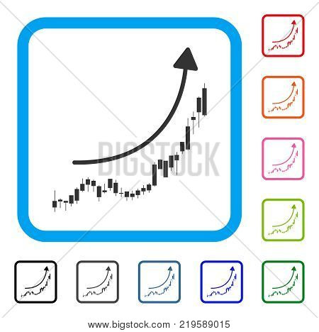 Candlestick Chart Growth Trend icon. Flat gray iconic symbol inside a blue rounded square. Black, gray, green, blue, red, orange color variants of Candlestick Chart Growth Trend vector.