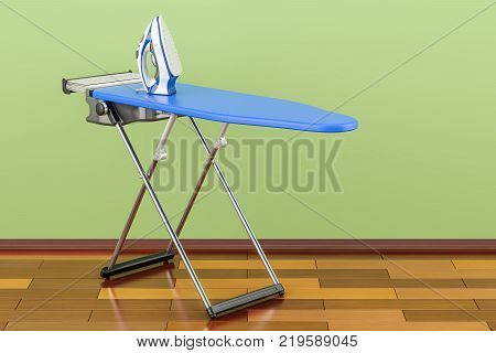 Ironing board with modern electric steam iron in room on the wooden floor 3D rendering