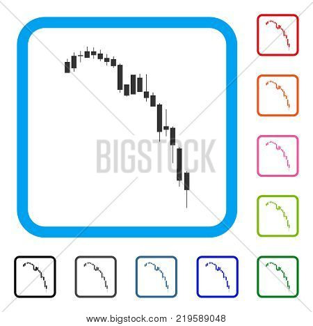 Candlestick Falling Acceleration Chart icon. Flat gray pictogram symbol in a blue rounded rectangular frame. Black, gray, green, blue, red,