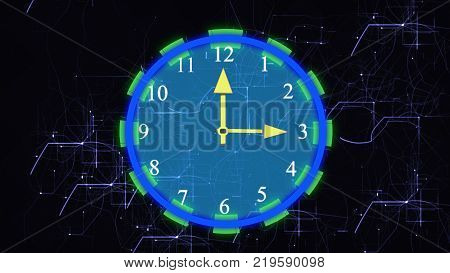 Electronic clock and lightning background, 3d render