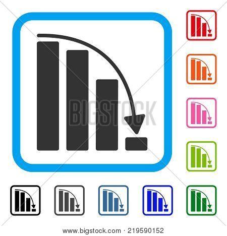 Falling Acceleration Bar Chart icon. Flat gray pictogram symbol inside a blue rounded rectangular frame. Black, gray, green, blue, red, orange color variants of Falling Acceleration Bar Chart vector.