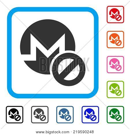 Forbidden Monero icon. Flat gray iconic symbol inside a blue rounded rectangle. Black, gray, green, blue, red, orange color additional versions of Forbidden Monero vector.