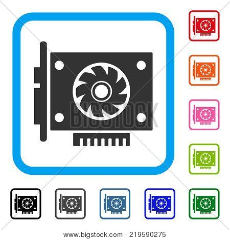 Gpu Card icon. Flat grey pictogram symbol inside a blue rounded square. Black, gray, green, blue, red, orange color versions of Gpu Card vector. Designed for web and application interfaces.