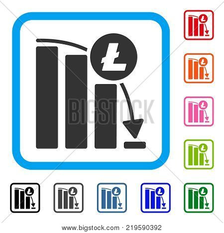 Litecoin Epic Fail Graph icon. Flat grey pictogram symbol in a blue rounded square. Black, gray, green, blue, red, orange color versions of Litecoin Epic Fail Graph vector.