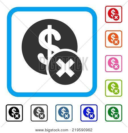 Wrong Dollar icon. Flat gray iconic symbol inside a blue rounded frame. Black, gray, green, blue, red, orange color variants of Wrong Dollar vector. Designed for web and software interfaces.