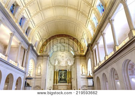FATIMA, PORTUGAL  - SEPTEMBER 17, 2017 Basilica of Lady of Rosary Fatima Portugal. Church created on site where three Portuguese Shepherd children saw Virgin Mary of the Rosary. Basilica created in 1953.