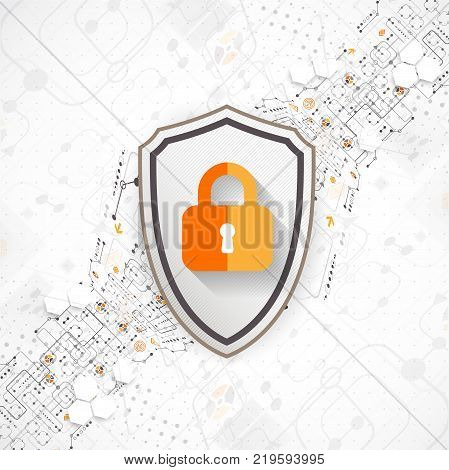Protection background. Technology security encode and decrypt techno scheme vector illustration