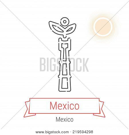 Mexico City, Mexico Vector Line Icon with Red Ribbon Isolated on White. Mexico Landmark - Emblem - Print - Label - Symbol. Mexico Independence Angel Pictogram. World Cities Collection.