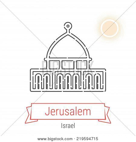 Jerusalem, Israel Vector Line Icon with Red Ribbon Isolated on White. Jerusalem Landmark - Emblem - Print - Label - Symbol. Mosque of Omar Pictogram. World Cities Collection.