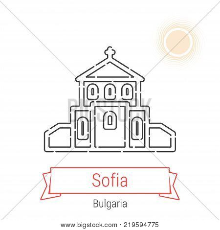 Sofia, Bulgaria Vector Line Icon with Red Ribbon Isolated on White. Sofia Landmark - Emblem - Print - Label - Symbol. Church of St. George Pictogram. World Cities Collection.
