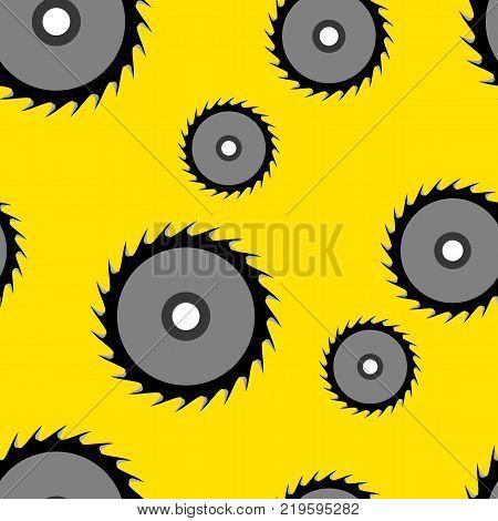 Circular saw blade seamless wallpaper, vector illustration