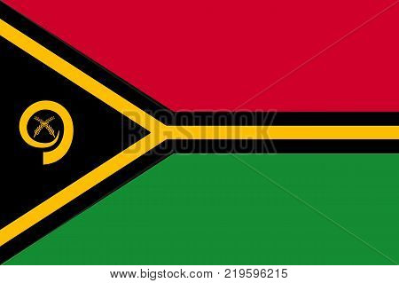 Flag Vanuatu flat style. The icon of national symbol. State sign in flat style on the entire page as vector illustration