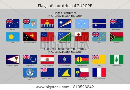 Flags Australia and Oceania flat style big set. Collection of national symbols. Vector illustrations of tribes, aborigines, peoples, pacific ocean concept