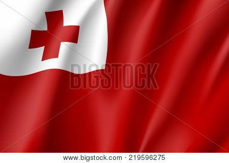 Flag Tonga islands national flag. Patriotic symbol in official country colors. Illustration of Oceania state flag. Vector realistic icon