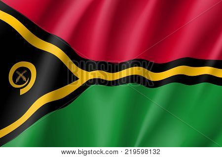 Flag Vanuatu national flag. Patriotic symbol in official country colors. Illustration of Oceania state flag. Vector relistic icon