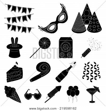 Party, entertainment black icons in set collection for design. Celebration and treat vector symbol stock  illustration.