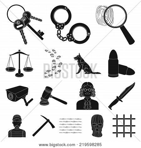 Prison and the criminalblack icons in set collection for design.Prison and Attributes vector symbol stock  illustration.