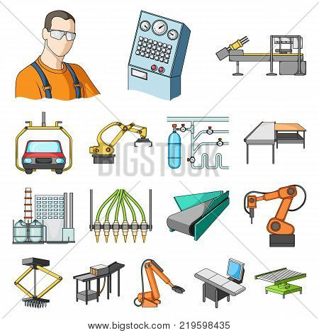 Equipment and machine cartoon icons in set collection for design. Technical progress of the factory vector symbol stock illustration.