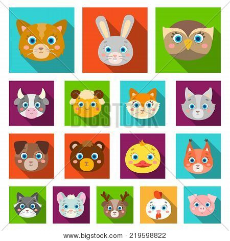 Muzzles of animals flat icons in set collection for design. Wild and domestic animals vector symbol stock  illustration.