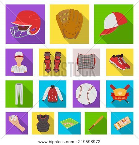 Baseball and attributes flat icons in set collection for design.Baseball player and equipment vector symbol stock  illustration.