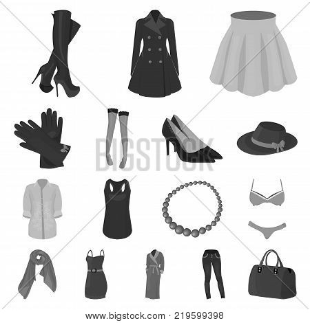 Women's Clothing monochrome icons in set collection for design.Clothing Varieties and Accessories vector symbol stock  illustration.