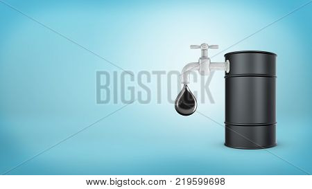 3d rendering of a large black barrel stands with a faucet in its side leaking large oil drops on a blue background. Oil and gas business. Petrol profits. Make money on oil.