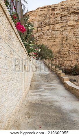 Near Mitzpe Yeriho Israel November 25 2017 : Fragment of the monastery of St. George Hosevit (Mar Jaris) in Wadi Kelt near Mitzpe Yeriho in Israel