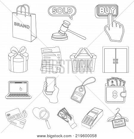 E-commerce, Purchase and sale outline icons in set collection for design. Trade and finance vector symbol stock  illustration.