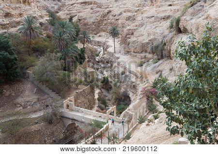 Near Mitzpe Yeriho Israel November 25 2017 : Exit the monastery of St. George Hosevit (Mar Jaris) in Wadi Kelt near Mitzpe Yeriho in Israel
