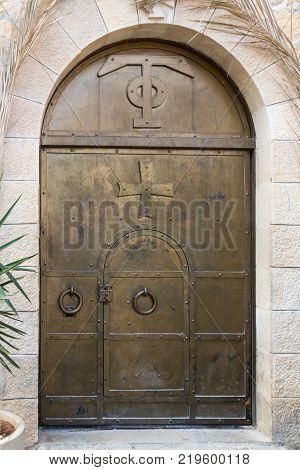Near Mitzpe Yeriho Israel November 25 2017 : Entrance to the monastery of St. George Hosevit (Mar Jaris) in Wadi Kelt near Mitzpe Yeriho in Israel