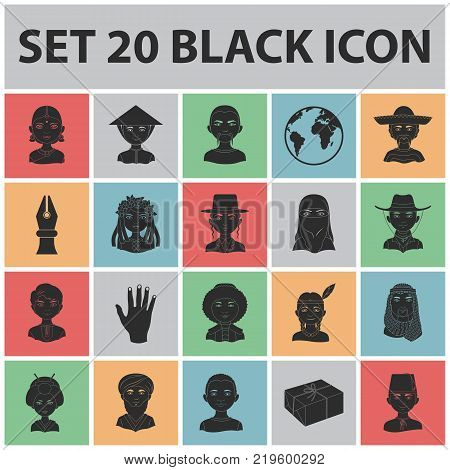The human race black icons in set collection for design. People and nationality vector symbol stock  illustration.
