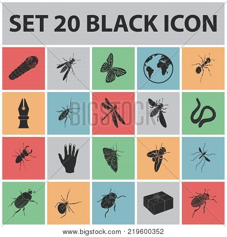 Different kinds of insects black icons in set collection for design. Insect arthropod vector isometric symbol stock  illustration.