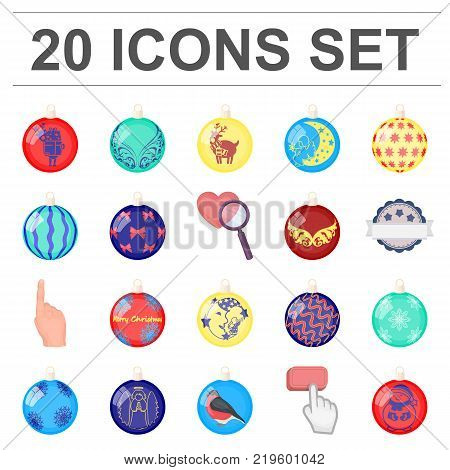 Christmas toys cartoon icons in set collection for design.New Year balls vector symbol stock illustration.