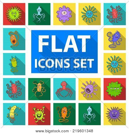 Types of funny microbes flat icons in set collection for design. Microbes pathogenic vector symbol stock  illustration.