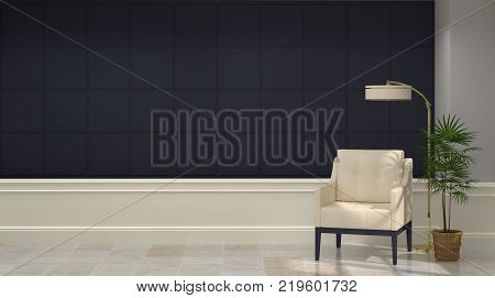 armchair in classical interior 3d rendering Mid Modern Home armchair with desk lamp luxury empty wall Contemporary living room