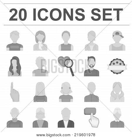 Avatar and face monochrome icons in set collection for design. A person's appearance vector symbol stock illustration.