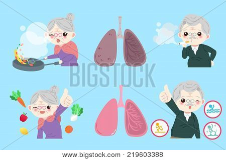 old people with lung health on the blue background