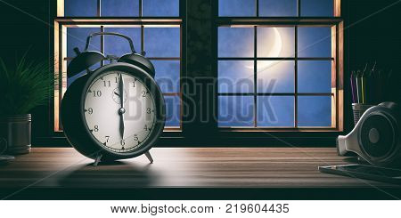 Early In The Morning. Alarm Clock On A Wooden Office Desk. 3D Illustration.