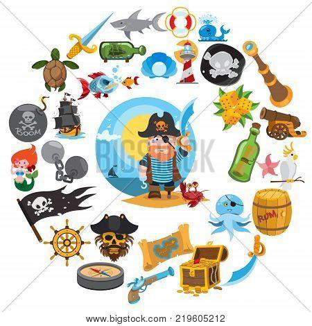 Round composition pirate theme, pirate history, adventure