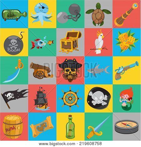 Set of flat pirate icons, pirate history