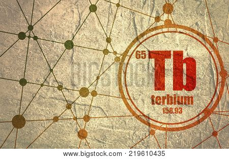 Terbium chemical element. Sign with atomic number and atomic weight. Chemical element of periodic table. Molecule And Communication Background. Connected lines with dots.