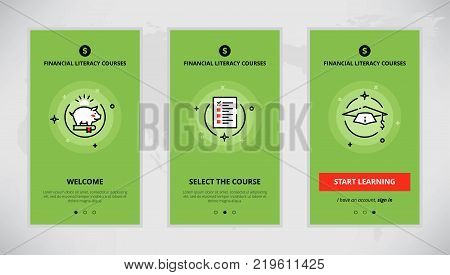 Modern vector flat line mobile app design set of financial literacy courses. Onboarding screens for financial literacy course online