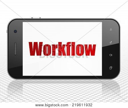 Business concept: Smartphone with red text Workflow on display, 3D rendering