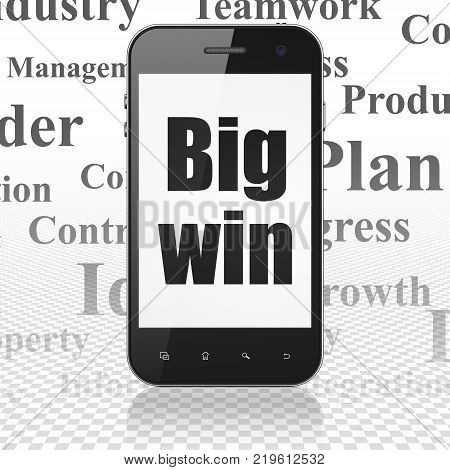 Business concept: Smartphone with  black text Big Win on display,  Tag Cloud background, 3D rendering