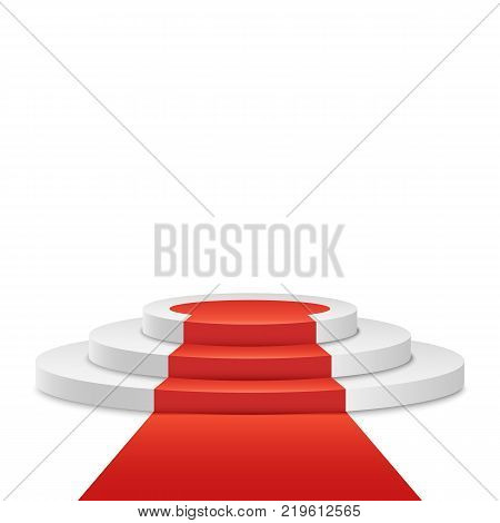 White podium and red road on a white background. The winner is in first place. Light pedestal. Festive event. Vector illustration.