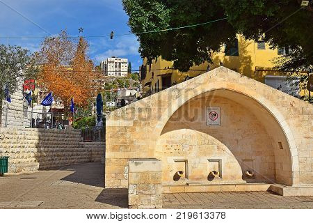 NAZARETH, ISRAEL - DECEMBER 18: modern building over the place where was Mary's Well ( the spring of the Virgin Mary), Nazareth, Israel on december 18, 2017