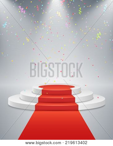 White podium and red road. The winner is in first place. Bright light from a spotlight. Multicolored flying confetti. Light pedestal. Festive event. Vector illustration.